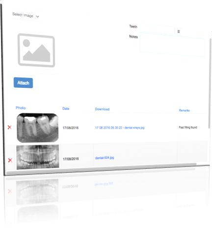 dental imaging section in dental management software